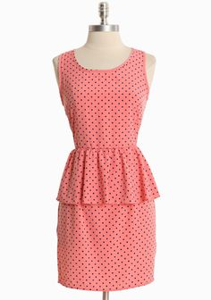 "Miss Heartbreaker Polka Dot Dress In Salmon 38.99 at shopruche.com. A peplum waist highlights the classic silhouette of this silky salmon dress with a whimsical blue polka dot print. Finished with a  hidden back zipper closure.100% Polyester, Made in USA, 33"" length from top of shoulders, 26"" waist, All measurements taken from a size small"