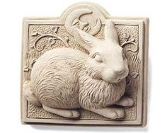 """Midnight Bunny Plaque 4.5"""" RABBIT Crescent Moon Cast Cement NO RESIN by eEarthExchange. $34.95. Cast Concrete - NO RESIN. 4.5 x 4.5 x 1.5. Made in the USA. MORE Bunny Plaques & Statues are also available. Ships in 100% Recycled Materials. These whimsical, original designs are sold in over 3,500 fine craft galleries and upscale gift shops nationwide. Carruth Studio artwork has been brightening the homes and gardens of thousands of people throughout the world. Letters come from eve..."""