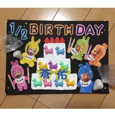 Instagram media sayooooopi - ボードどうにか完成❤️ テーマはハーフバースデーにしてみた٩꒰。•◡•。꒱۶ そうすけロディくん、 比べていくと表情がやっぱり変わって行ってるきがするな꒰ ´͈ω`͈꒱ 一ヶ月のときのウインクしてるみたい(o^^o)✨ #赤ちゃん#0歳児#1月生まれ#5ヶ月#男の子#親バカ部#baby#ig_baby#ig_japan#instagood#ig_kidsphoto#igyourcolors#wms_kids#キッズ時計ボード#ロディ#ハーフバースデー#バースデーケーキ#完全なる自己満だ