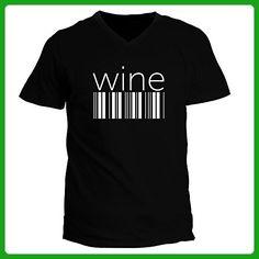 Idakoos - Wine barcode - Drinks - V-Neck T-Shirt - Food and drink shirts (*Amazon Partner-Link)