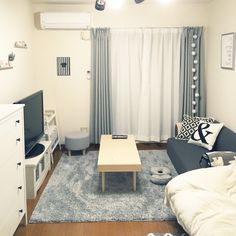 sa_monさんの、楽天で買ったもの,3Coins,ホワイトグレー,一人暮らし 賃貸,一人暮らし,100均,ニトリ,IKEA,部屋全体,のお部屋写真