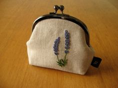 Lavender Kisslock Snap Frame Pouch Hand Embroidered by yhandmade, ¥3800