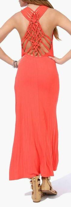 Coral Dream Catcher Maxi Dress // Love the Back Detail!