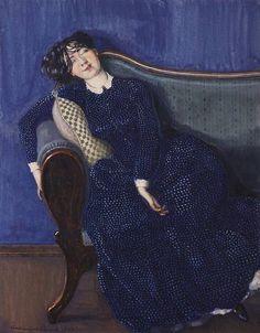 Sleeping woman in a blue dress.  1903 Somov