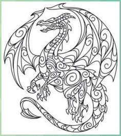 Free Printable Coloring Pages, Coloring Book Pages, Coloring Sheets, Hand Embroidery Designs, Embroidery Patterns, Diy Embroidery, Embroidery Jewelry, Dragon Coloring Page, Urban Threads