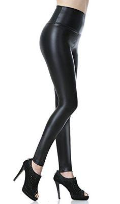 Everbellus Leggings Simili Cuir Taille Haute Sexy Femme Pantalon (Noir  Medium EU36) Cuir 6dd77b41a2c