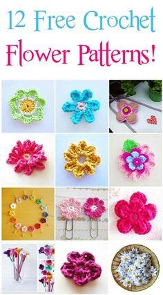 12 Free Crochet Flower Patterns!!