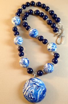 Starry NIght Polymer Clay and Quartz Necklace & Earrings Set by Tammie Everly of  TTE Designs $30