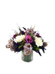 Creative Displays Purple & White Hydrangea, Rose & Anemone Floral in Glass at MYHABIT