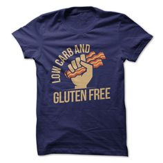 """Bacon lovers rejoice - there is finally a t-shirt that just gets you. Strangers on the street will shake your hand when they read the slogan on this tee: """"Bacon - Low Carb and Gluten Free."""" Choose fro"""