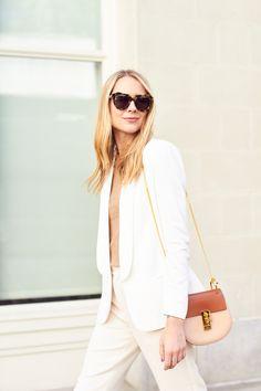 fashion-jackson-karen-walker-sunglasses-white-blazer-chloe-drew-handbag