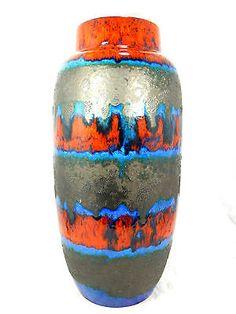 Very unusual glazed Scheurich Keramik Fat Lava floor vase 553 - 52 cm 09735