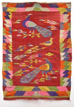 Lovely Antique Mestizo Spanish Indian Peacock ANDES BLANKET TM7554 | eBay