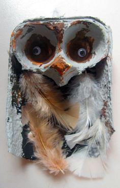 "Egg carton owl.  Use with ""Owls"""
