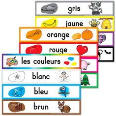 "PDF files Color and Line Art versions 3 sizes available: small, square and large To print the entire pages of the documents, make sure to check ""Shrink oversized pages"" in the PDF printing options window. French Teaching Resources, Teaching French, French Lessons, English Lessons, French Colors, Core French, French Classroom, French Teacher, French Immersion"