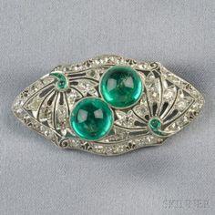 Art Deco Platinum, Emerald, and Diamond Brooch   Sale Number 2659B, Lot Number 523   Skinner Auctioneers #platinumjewelry