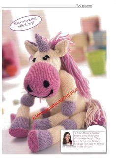 PDF Digital Download   Unicorn Toy Knitting Pattern DK  Approx 8 High (Sitting)