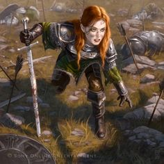 'Robrenn, Redstone Castle (Dungannon) area ('Isle of Dawn), maybe Hinterlander, rare Flaemish (Principality of Berghdoven area), etc....  [Red Haired Woman in Armor...so HOT!!!]