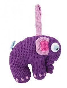 Spieluhr lila Elefant, handgehäkelt, von sebra