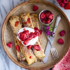 Lemon Ricotta Cheese Stuffed French Toast Crepes with Vanilla Stewed Strawberries. Crepes made french toast style!