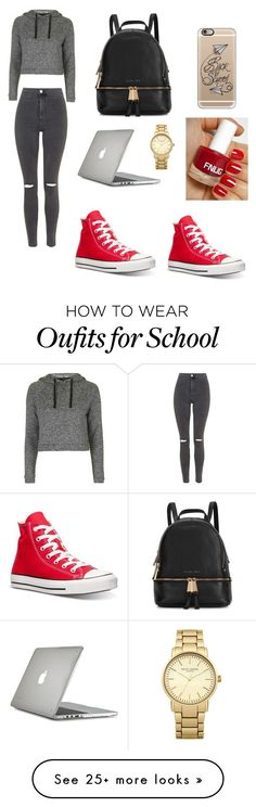 """""""Back to school"""" by ashleebaker2014 on Polyvore featuring Topshop, Converse, Michael Kors, Casetify and Speck"""