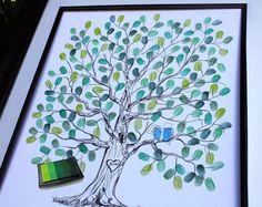 Daumen Drucken Hochzeit Gäste Buch Alternative Print Fingerabdruck Hochzeit Baum mit Liebe Vögel einzigartige Guest Book Ideen-benutzerdefinierte Gästebuch