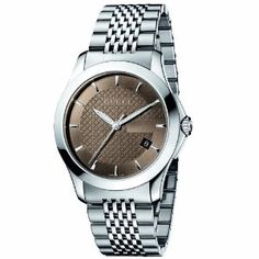Yet another classic Gucci watch for men! G-Timeless Medium Brown Dial Stainless-Steel Watch.
