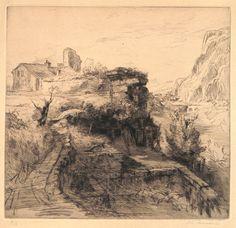 """""""Le pan de mur"""" - Eau-forte originale de Pierre-Louis Moreau (1876-1959 ou 1960) 9ème épreuve sur 20. MAS Estampes Anciennes - Antique Prints since 1898"""