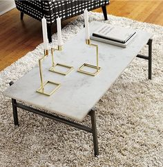 Slab Marble Coffee Table w/ Antiqued Silver Base