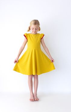 "just a little hot-pink and mustard fleece dress | MADE....a ""winterized"" version of the First Day Dress"
