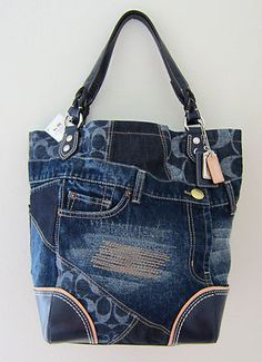 NWT COACH POPPY DENIM PATCHWORK HERITAGE TOTE JEANS BAG PURSE 19884