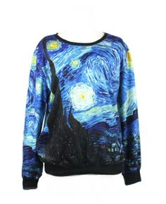 Amazon.com: LoveLiness Van Gogh's Starry Night Calico Patterns Print Sweatshirt Sweaters (One Size, Multicolor): Clothing