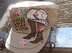 Khaki Cowgirl Bling Roses, and Boots, Distressed Cap Hat