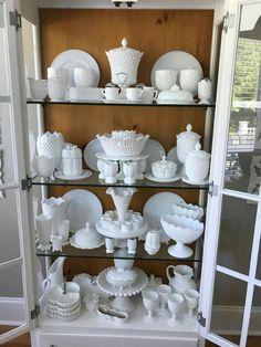 Milk glass all Hobnail Decor, Glass Collection, White Pottery, Vintage Kitchenware, Milk Glass Decor, Hobnail Glass, Milk Glass Display, Home Decor, White Glass