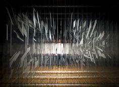 Holocene, 2011, 170 x 289 x 335 cm / 67 x 289 x 132 inches Acrylic on layered transparent film, metal bar, springs, lights. Installation premiere at the Prague Biennale 5, Prague, Czech Republic