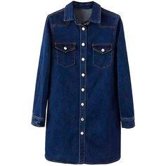 Yoins Denim Dress (965 UAH) ❤ liked on Polyvore featuring dresses, navy, navy long sleeve dress, long sleeve denim dress, blue dress, boxy dress and longsleeve dress