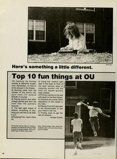 "Athena yearbook, 1990. Ohio University students share a list of ""Top 10 fun things at OU"". :: Ohio University Archives"