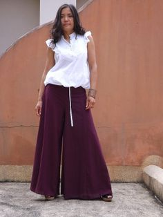Wide Leg Pants ....Bell Bottom Pants ...Flared Pants ...Color Purple on Etsy, $39.00