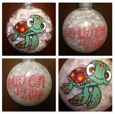 Finding Nemo Squirt Christmas Ornament Hand by WattsGoodArtistry