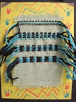 subtractive weaving on burlap for 3rd grade: remove some strings and have them replace with yarn in a pattern