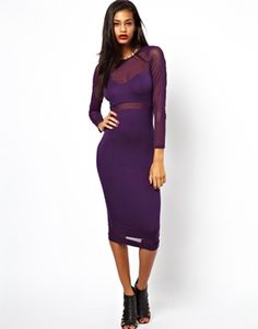 Image 1 of ASOS Mesh Cut Out Long Sleeve Midi Dress