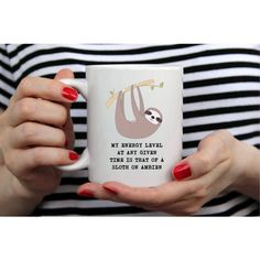Sloth Coffee Mug Sloth Mug Sloffee Coffee Mug 11 Oz White Mug ($12) ❤ liked on Polyvore featuring home, kitchen & dining, drinkware, drink & barware, grey, home & living, mugs, white coffee mugs, gray coffee mugs and coloured mugs