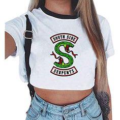5da5e175e0 Riverdale Southside Serpents T-Shirts Damen Teenager Mädchen Mode Sommer  Crop Tops Bauchfrei Oberteile Sport