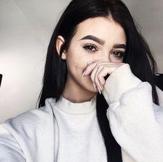 Rosiecheecksandfreckels white sweater eyebrows black hair beautiful girl