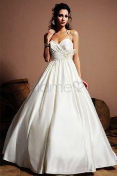 Strand Herz-Ausschnitt Satin Prinzessin Nackenband volle länge rückenfreies Brautkleid