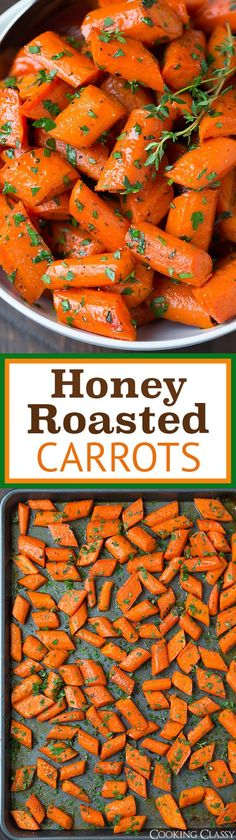 Honey Roasted Carrots - the perfect easy Thanksgiving side dish! Flavorful and delicious!!:
