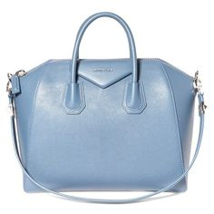Givenchy 'Medium Antigona' Sugar Leather Satchel ($2,435) ❤ liked on Polyvore featuring bags, handbags, mineral blue, leather handbags, genuine leather purse, blue handbags, man bag and blue purse