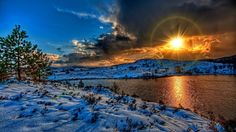 Magnificent Sunset Over River Winterscape