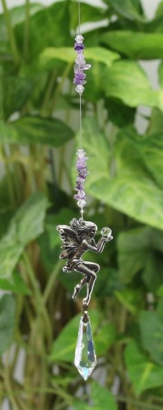 Giving Fairy Suncatcher, Pewter Fairy with 38mm Asfour Crystal Point, Beaded with Gemstone Chip Beads, Hanging Window Decoration,  $12.50