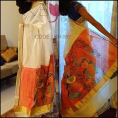 A traditional aesthetic mural painted saree to welcome the harvest season. | Keyah Boutique